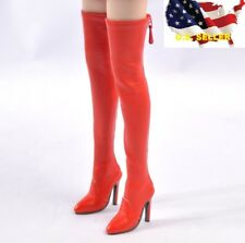 1/6 women fashion Knee-High classic RED Boots for phicen kumik hot toys ❶USA❶