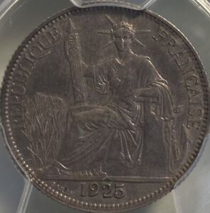 French Indo-China 1925-A 20 Cents Centimes PCGS AU55