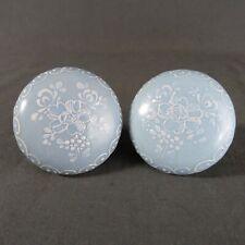 Pair of Vintage French Porcelain Door Round Handles Blue Porcelain of Paris