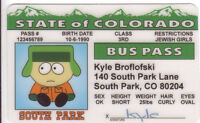 South Park Cartoon KYLE Broflofski plastic collector ID card Drivers License