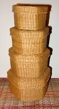 4 Old Vintage Intricate Woven Wicker Stacking / Nesting Baskets Boxes Folk Art