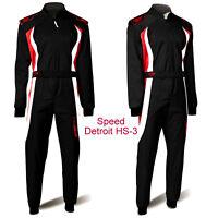 Speed Kartoverall Kart Overall - Schwarz rot weiß - Gr.140 - 2XL - Karting Suit