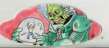 Mars Attacks The Revenge Shaped Sketch Card By Matt Stewart