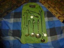 Primitive Hand Wrought Twist Sterling Silver Hors D'oeuvre Serving Set 7 Pieces