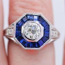 Vintage Engagement Art Deco Ring 2 Ct Round Diamond Sapphire 14k White Gold Over