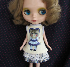 Blythe Doll Outfit Cloth Cat Print yellow Tee