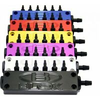 BLOX Racing Surface-mount Vacuum Block - 6-Port / Billet Aluminum - Red