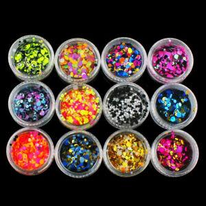 12 Boxes/Set Nail Art Glitter Sequins Flakes Sparkly 3D Round UV Gel Decoration