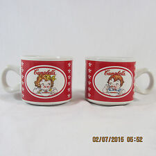 Campbell's Soup Houston Harvest Coffee Mugs set 2 white red girl and boy 2004