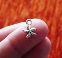 10pcs Small Starfish 3D Charms for Bracelets Tiny Necklace Pendants Silver tone