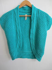 CHEROKEE womens turquoise bolero sweater S SMALL blue OPEN FRONT chunky knit