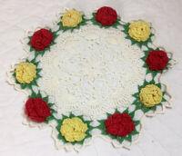 Vintage Hand Crocheted Doily, Round, Flower Design, White, Red, Yellow, Cotton