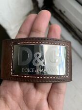 D&G Dolce & Gabbana Brown Leather Logo Cuff Bracelet RRP £137 Fast Shipping