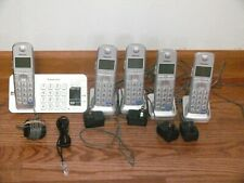 New ListingPanasonic Kx-Tge270 Cordless Phone System 5 Handsets 4-Charging 1-Answering Base