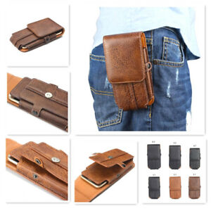 Pure Leather Button Belt Holster Magnetic Card Pouch Case Cover for Huawei Model