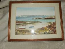 1960s Watercolor Bay of Port Grat Guernsey Channel Islands Great Britain Framed