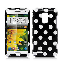 Boost Mobile Warp 4G ZTE N9510 HARD Protector Case Phone Cover Black Polka Dots