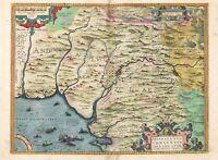 Map Antique Ortelius 1584 Andalusia Seville Large Replica Canvas Art Print