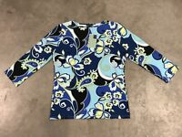 Melly M Womens Fancy Tech LS Golf Shirt T-Shirt Lily Paisley Floral USA NWT!!