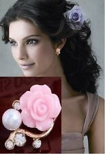 Pink Rose Flower Shiny Crystal Rhinestone Pearl Stud Earrings For Women Girls