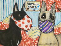 Great Dane in Quarantine 13 x 19 Dog Pop Art Print Collectible Signed KSams Mask