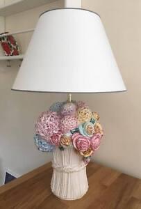 Bassano Ceramic Lamp Handmade Unique 70 CM Flowers Motif from Italy
