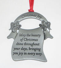Christmas Joy Ornament Angels Pewter New May Beauty Shine Throughout Your Days