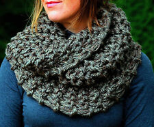 Claire's Cowl, Chunky Knit, Infinity Scarf, Neck Warmer Olive Brown