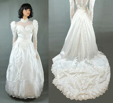 Vintage Wedding Gown S Victorian Style White Satin Pearl Beads Emboidered Train