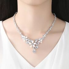 CUBIC ZIRCONIA PEARL NECKLACE Wedding Bridal Elegant Gemstone Rhodium #7