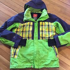 Foursquare Ski Snowboard Jacket Insulated 15K Hooded Snow Coat Neon Plaid Mens S