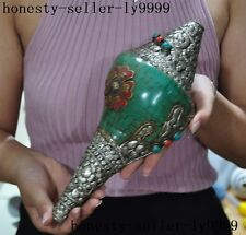 "10""Tibet Buddhism silver Turquoise mosaic Gem Conch Shell Trumpet Horn Howl"