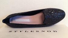 STYLESNOB Black Glitter Leather Ballerina Shoes Womens Slip Ons UK Size 3 EU 36