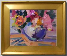 JOSE TRUJILLO FRAMED ART IMPRESSIONISM Pink Peonies Oil PAINTING Vase Flowers