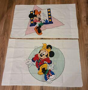 "Walt Disney Minnie Mouse Vintage (2) Standard Size Pillowcases 32x20"" USA Made"