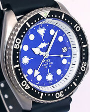 Vintage SEIKO mens diver 7002 GMT mod SWISS dual-time movement w/Blue TUNA dial!