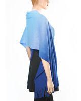 NEW Ombre Blue Soft Acrylic Knit Oblong Rectangular Wrap Shawl Scarf w/ Fringe