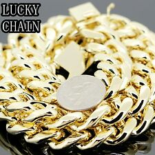 """30""""14K GOLD PLATED HEAVY MIAMI CUBAN LINK CHAIN NECKLACE 18MM 545g A28"""