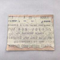 Bon Jovi Myriad Convention Center Concert Ticket Stub Vintage February 24 1987
