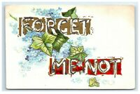Postcard Forget Me Not glitter greeting embossed C53