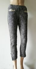 Humanoid Cropped Ankle Zip Frayed Hem Knitted Pant Trousers S