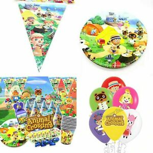 ANIMAL CROSSING BALLOON BANNER TABLECLOTH CUP PLATE BIRTHDAY PARTY DECOR SUPPLY
