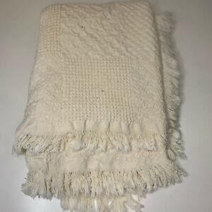 knit woven throw blanket throw white cream fringe edging 58x43