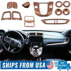 12X Peach Wood Grain Car Interior Kit Cover Trim For Honda CRV CR-V 2017-2020