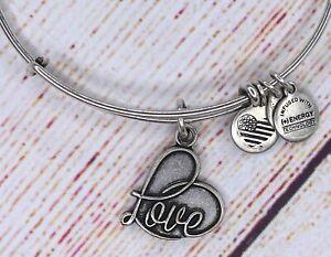 Alex and Ani Love Heart Charm Bangle Silver Bracelet 2017