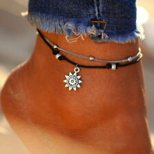 Silver Sun Ankle Bracelet Multi Layer Womens Anklet Adjustable Chain Beach Beads