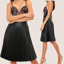Womens Ladies Black  Pleated Faux Leather Midi Skirt Evening Wear UK 10-16