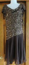 NWT J Kara Brown Beaded Bodice Cowl Neck Cocktail Dress ~ Size 10