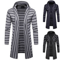Men's Hooded Trench Coat Jacket Slim Long Sleeve Knitted Cardigan Casual Sweater