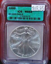 2000 American Eagle Silver BU 1 Oz. ICG MS69 US $1 Dollar Coin .999 Fine US Mint